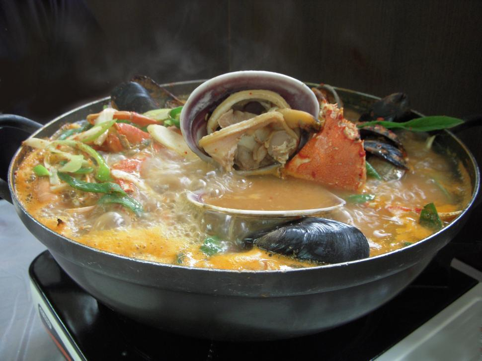 Download Free Stock HD Photo of Seafood soup in hot pot Online